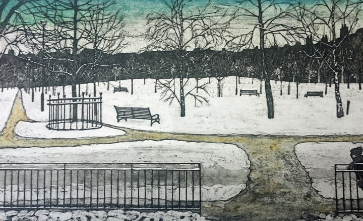 Cat Outram Snow in the park Etching 68x34cm