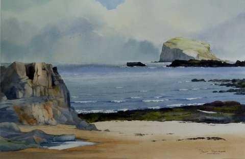 Iain Harkess - Bass Rock from the Shore-32x49cm-£420-B