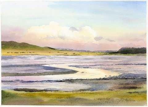 Iain Harkess-Evening at Aberlady Bay-Watercolour-33x47cm-£420-B - Copy