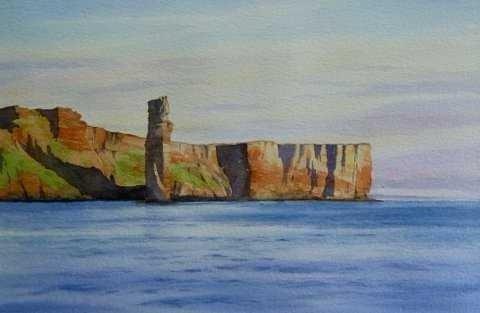 Iain Harkess-Evening sun on the Old Man of Hoy-Watercolour-27x42.5cm-£420-B
