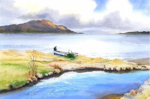Iain Harkess-Repairing the boat, Arran-Watercolour-30x45.5cm-£420-B