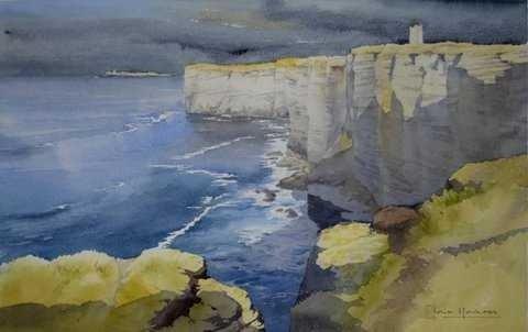 Iain Harkess-Sunlight on Marwick Head-Watercolour-26x42cm-£395-B