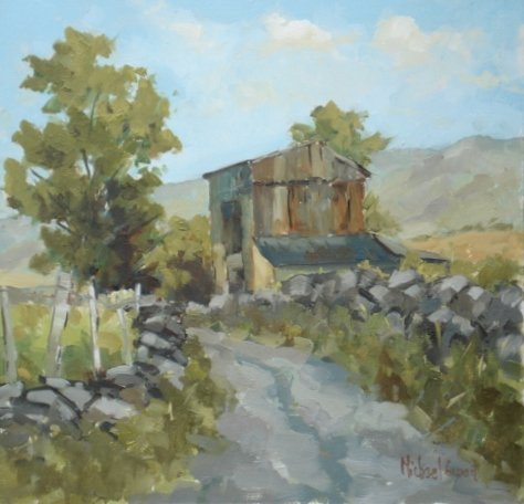 Michael Ewart-Lane with old barn-Oil on board-25x25cm-£550-A