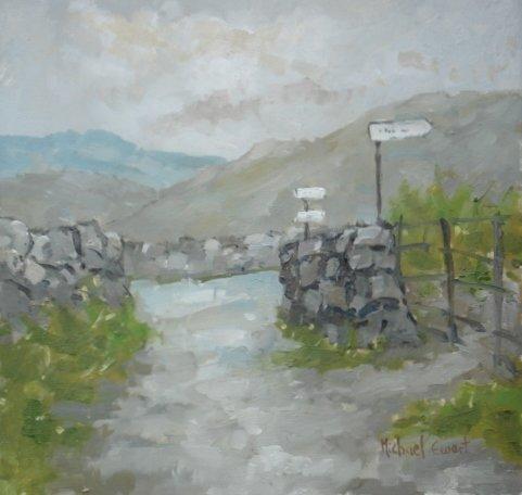Michael Ewart-Rain in Dentdale-Oil on board-25x25cm-£550-A