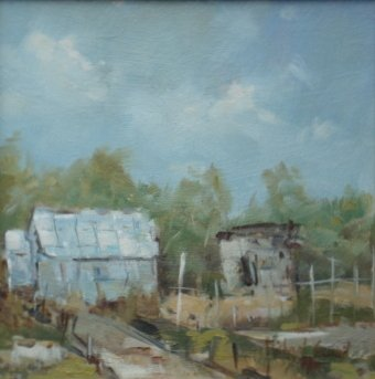 Michael Ewart-The Allotment-Oil on board-20x20cm-£520-A